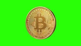 在绿色背景的转动的不稳定的Bitcoin 股票录像
