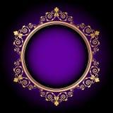 在紫色背景的金花卉框架 库存照片