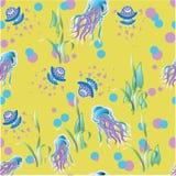在黄色背景的水母样式 库存图片