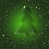 在绿色背景的玻璃树与雪花 免版税库存图片