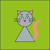 在绿色背景的滑稽的猫 免版税库存照片