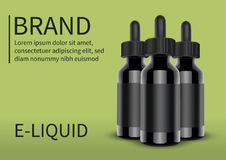 在绿色背景的E香烟液体瓶 Vape 也corel凹道例证向量 免版税库存照片
