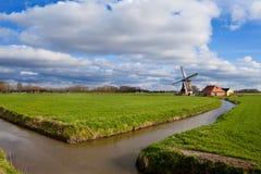 在绿色草原的迷人的荷兰风车 免版税图库摄影