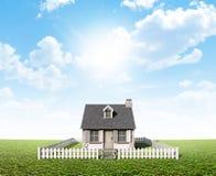 在绿色草坪的村庄 免版税库存照片