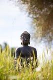 在绿色草甸中间的菩萨小雕象 库存图片