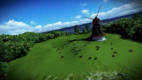在绿色草甸和风车,照相机飞行的绵羊 皇族释放例证