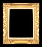 在黑色隔绝的古色古香的金黄框架 免版税库存照片