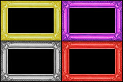 在黑色隔绝的四个多色木制框架 库存照片