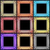 在黑色隔绝的套五颜六色的木制框架 库存照片