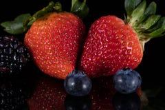 在黑色隔绝的被分类的莓果 库存照片