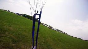 在绿色领域的专业跳伞运动员着陆 夏天 极其体育运动 晴朗的日 影视素材