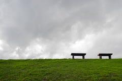在绿色领域的两条长凳 库存照片