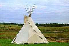 在绿色领域的白色圆锥形小屋 免版税库存照片