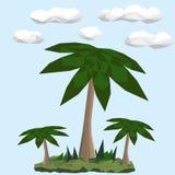 在绿色风景的低多棕榈 免版税图库摄影