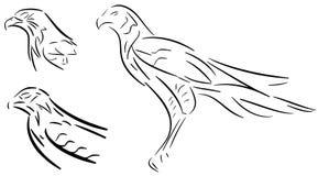 在黑色风格化老鹰隔绝的套 免版税库存图片