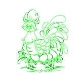 在绿色鸡蛋的鸡 愉快的复活节 免版税库存图片