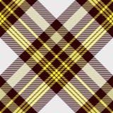 在黄色,白色和稍带黑红褐色的无缝的格子花样式 免版税库存图片