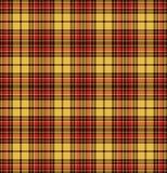 在黄色,红色和褐色的格子呢检查格子花呢披肩纹理无缝的样式 免版税库存图片