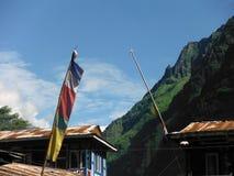 在绿色更低的喜马拉雅山前的传统祷告旗子 免版税库存图片