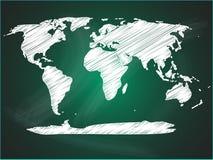 在绿色黑板的世界地图 库存图片