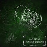 在绿色黑板的机械工程图画 库存照片