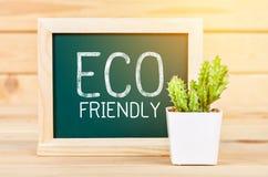 在绿色黑板的Eco友好的标志消息 免版税图库摄影