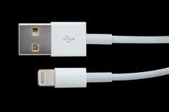 在黑色/USB在黑背景隔绝的缆绳/USB缆绳的USB缆绳 库存照片