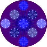 在紫色background2的雪花 图库摄影