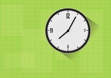 在绿色background.eps 10的传染媒介时钟 免版税图库摄影