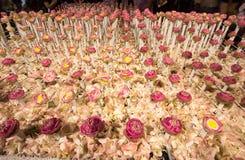 在`花的美好的花的布置父亲`活动的为了知道陛下国王普密蓬・阿杜德在朴Kl 免版税库存照片