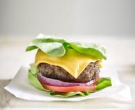 在莴苣包裹的蛋白质汉堡 库存照片