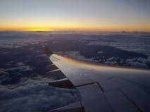在33,000英尺的日落 免版税库存图片