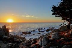 在17英里驱动, Pebble海滩,加利福尼亚的日落 免版税库存照片