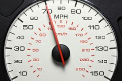 在70英里/小时的车速表 免版税库存图片