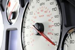 在150英里/小时的车速表 免版税库存图片