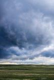 在绿草上的领域的暴风云 免版税库存图片