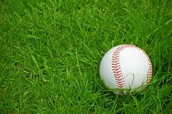 在绿草沥青的棒球 库存照片