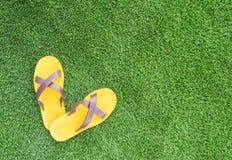 在绿草的凉鞋 免版税库存图片