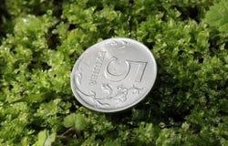 在绿草的硬币 免版税图库摄影