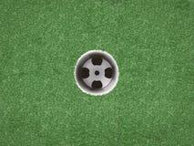 在绿草的空的高尔夫球杯子 免版税库存照片