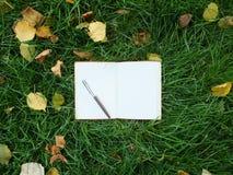 在绿草的笔记本 免版税库存图片