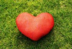 在绿草的红色心脏 库存照片