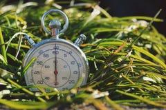 在绿草的老秒表 库存照片