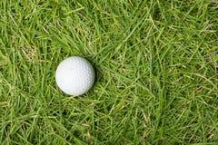 在绿草的老高尔夫球 图库摄影