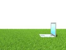 在绿草的膝上型计算机 库存照片