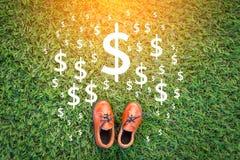 在绿草的鞋子和金钱标志 免版税库存照片
