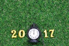 在绿草的2017个真正的3d对象与豪华怀表,新年好概念 免版税库存照片
