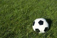 在绿草的经典黑白足球橄榄球 免版税库存照片