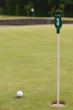 在绿草,选择聚焦的高尔夫球 免版税库存图片