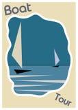 在水葡萄酒海报框架模板的蓝色小船 免版税库存照片